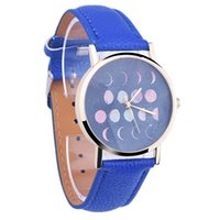 Wholesale Astronomy Space - Wholesales 14Colors Fashion Moon Phase Astronomy Space Watch Casual Leather Strap Women Eclipse of the Moon Quartz Watches 100pcs lo