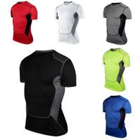 base layer toptan satış-Erkekler Sıkıştırma Kısa Kollu O-Boyun Spor Sıkı T Shirt Hızlı Kuruyan Spor SPOR Taban Katmanlı Üstleri