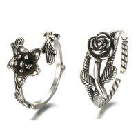 Wholesale 925 Silver Rose Flower Ring - 925 Sterling Silver Rose Flower Design Ring Opening Adjustable Vintage Style Thai Silver Unisex Jewelry Rings For Men Women