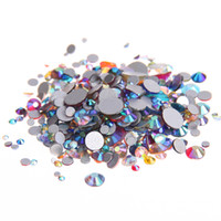 Wholesale Nail Crystal Mix Colors - Mixed AB Colors ss12-ss30 Non Hotfix Crystal Rhinestones For Nails Art Decoration Flatback Glue On Strass Diamonds DIY Crafts Decorations