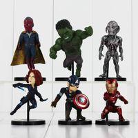 Wholesale Black Spider Man Figure - 6Pcs Lot New Arrival The Avengers Q Version Age of Ultron Hulk Spider Man Captain America Black Widow PVC Figure Toys