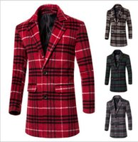 Wholesale Korean Mens Wool Coat - (New Products) Korean version of the men's plaid Wool Coats lapel men mixed color in the long Windbreaker mens woolen cloth Outerwear F38