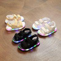 ingrosso sandali da spiaggia per neonati-Sandali LED Sandali estivi per bambini e bambine Scarpe da spiaggia Hook Loop Light Baby Shoes Kids XT