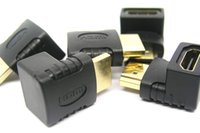 Wholesale Right Angle Hdmi Adapter - 50pcs 90 or 270 Degree Right Angle Gold plated HDMI Adapter A type Male to Female for 1080p 3D TV HDTV hdmi adapter