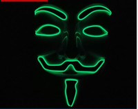 Barato V Para Adereços De Filme Vendetta-Luminosos Máscaras V disfarce para Ball Halloween Mask Costume Party completa Cara Vendetta Props Movie Mardi Gras assustador Horror para Máscara Atacado