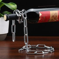 Wholesale Metal Wine Stand - 2017 Creative Chain Ring Wine Rack Magical Suspended Free Stand Chain Wine Holder Metal Handicraft Home Decor XL-G191