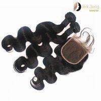 Wholesale 2pcs Bundles Closure - Body Wave Burmese Hair Bundles 1pc Lace Closure With 2pcs Mixed Hair Weave Natural Black Cuticle Human Hair Extension