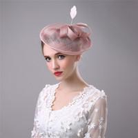 eski tüy gelin şapka toptan satış-Fascinator Düğün firkete Çiçek Tüy Bow Saç Aksesuarları Düğün Parti Noel Veils Için Gelin Kafa Şapkalar Hairbands Vintage