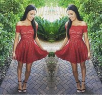 Wholesale Junior Pink Lace Cocktail Dress - 2018 New Short Red Lace Homecoming Dresses Modest Off Shoulder Short Sleeves Full Lace Junior Sweet 16 Graduation Dresses Cocktail Gowns