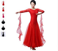 Wholesale Dance Costume For Jazz - ballroom dance dress lady red rose black lulu jazz tango waltz dance dress competition performance marine costumes for women