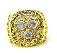 Wholesale Enamal Jewelry - Free shipping 1987 Edmonton Stanley Cup championship ring oiler Enamal Crystal Rhinestone gold Pleated Ring Men Jewelry