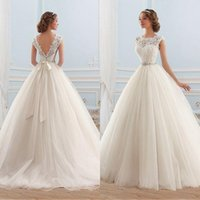 Wholesale Lace Top Classic Wedding Dress - Classic 2016 Ball Gown Wedding Dresses Princess Dream Dress Sheer Neckline Lace Top Tulle Skirt V Back Bridal Gowns with Beaded Sash