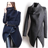 Wholesale Leather Black Fur Jackets Women - 3XL-2016 winter blouse women wool jacket coats women high collar trench coat ladies jacket coats Black coat leather jacket women