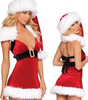 Wholesale Sexy Santa Claus Clothes - Deep V Sexy Plush White Side Christmas Skirt Winter Christmas Studio Clothing Christmas princess Skirt Stage Clothing