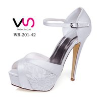 Wholesale Sexy White Satin Heels - Free Shipping 2016 Sexy High Heel 12cm Fashion Fashional Lace wedding shoes Ivory High Heel Bridal Shoes Party Prom Women Shoes bridal shoes