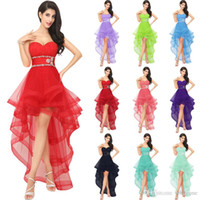Wholesale Collared Girls Party Dress - 100% Real Image Red Tulle high Low Homecoming Dresses for girls Luxury Crystal open Back Dress Party Evening Gowns Vestido de fiesta AJ014