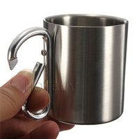 Wholesale Wholesale Aluminium Water Bottle - Double Stainless Steel 220ml Layer Travel Mug Cup Aluminium Carabiner Hook Isolating Handle Outdoor Camp Water Bottle #4113