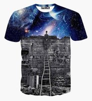 Wholesale Quick Watch - tshirt New Europe and American Men boy T-shirt 3d fashion print A person watching meteor shower Space galaxy t shirt
