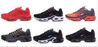 Wholesale Low Price Sneakers - Wholesale Price AirS Plus TN Black Metallic Silver Men's Sports Running Athletic Shoes Free Breathable Outdoor Sneakers Shoes Shipping