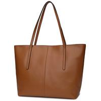 Wholesale Ladies Casual Real Leather Handbags - Genuine Leather Bags Ladies Real Leather Bags Women Handbags Casual Tote High Quality Large Capacity Female Fashion bolsa