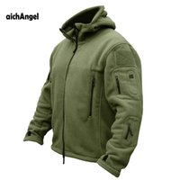 Wholesale Hooded Fleece Tactical - aichAngeI US Military Man Fleece Tactical Jacket Thermal Breathable Polar Hooded Coat Casual Outerwear Army Clothes