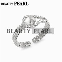 Wholesale sterling silver blank rings - 5 Pieces Twisted Band Ring Pearl Settings 925 Sterling Silver Blanks DIY Jewellery Making Pearl Mount