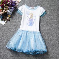Wholesale Baby Clothes For Retail - Retail Girls frozen dress gliter baby girl lace tutu skirts 2016 new short sleeve children clothing kids dress anna elsa dress for girls