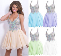 Wholesale Sparkly Mini Prom Dress - 2016 cheap homecoming cocktail party dresses hot sales sexy sparkly sequins beaded crystals backless short prom gowns graduation dresses