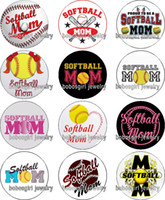 Wholesale snap buttons mom for sale - Group buy softball MOM glass Snap button Charm Popper for Snap Jewelry good quality Gl357 jewelry making DIY