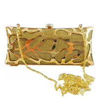 Wholesale Gold Metallic Clutch Bag - Multicolor Designed Hollow Out Metallic Evening Bag Rhinestone Press Clasp Cutout Box Clutch Party Handbag Women Hard Messenger Purse - 6020