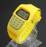 Wholesale calculator watch resale online - New Hot Casual Fashion Sport Watch For Men Women Kid Colorful Electronic Multifunction Calculator Watch Jelly Watch