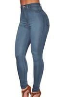 Wholesale Cheap Light Blue Skinny Jeans - Cheap Wholesale Wash Denim High Waist Skinny Jeans Women Super Stretch Slim Hip Plus Size Denim Trousers Long Casual Pencil Pants Blue 78638