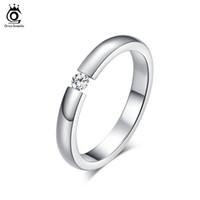 Wholesale Zircon Stainless Steel Rings - ORSA 2017 Trendy AAA Quality Austrian Zircon Engagement Rings High Polished Titanium Steel Wedding Rings OTR48