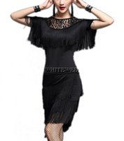 Wholesale Gatsby Costumes - Lace Tassel 1920 Era Flapper Gatsby Charleston Inspired Retro Salsa Night Dance Recital Outfit Costumes Apparel Blue Red Pink