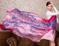 Wholesale Printed Scarves China Wholesale - Scarf China Silk Female 2016 fashion elegant shawl print colourous wrap satin girls autumn seabeach scarves size 100*190CM free shipping