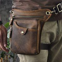 Wholesale Leather Leg Bags - Wholesale-Vintage Fashion Casual 100% Genuine Leather Cowhide Men Outdoor Belt Waist Bag Pack Packs Leg Chest Shoulder Messenger Bag Bags