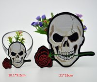 Wholesale Jacket For Biker Motorcycle - USA new Huge Skull Love rose Embroidery Patches badge Motorcycle Biker for Jacket Back 2 size can be choice