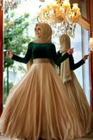 Wholesale Dress Eastern - Turkish Arabic Formal Evening Dresses Gold Crystal Sash dubai kaftan vestidos de festa Occasion Gowns Eastern