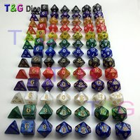 Wholesale dungeons dragons dice for sale - 7pc dice set High quality Multi Sided Dice with marble effect D4D6 D8 D10 D10 D12D20 DUNGEON and DRAGONS D d rpg custom dice