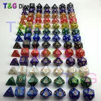 ingrosso dungeon di dadi-Set dadi 7pz / lotto Dadi Multi-Sided di alta qualità con effetto marmo D4D6 D8 D10 D10 D12D20 DUNGEON e DRAGONS Dd rpg dadi personalizzati