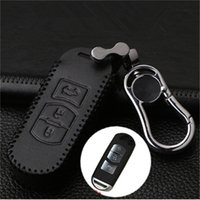 Car Leather Bag Remote Control Car Keychain Chave Cover Case para Mazda CX4 CX5 CX7 M6 3Buttons Smart Key Metal Chain S71