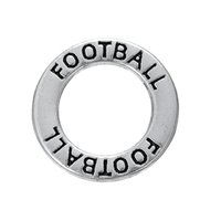 Wholesale Antique Jewelry Football - Myshape Antique silver plated Affirmation charms Engravesd Letter FOOTBALL circle charms sports jewelry for bracelet necklaces