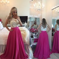 Wholesale Unique Prom Dress Lace Bodice - Dresses Party Evening 2016 Fuchsia Prom Dresses Unique A Line Jewel Lace Bodice with Pearls Zipper Back Custom Made Long Special Dresses