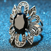 Wholesale Dahlia Resin - girl Imitation Resin obsidian pistil stamen core full rhinestone hollow petal ring big agate flower Dahlia ring Faceted black Gem rings j306