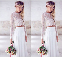 Wholesale Cheap Wedding Dresses Fast Shipping - 2017 Cheap Beach Wedding Dresses Long Sleeves Lace Chiffon Floor Length Custom Made Two Pieces Boho Wedding Gowns Fast Shipping