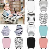 Wholesale Wholesale Nursing Caps - Multi-Use Stretchy Newborn Infant Nursing Cover Baby Car Seat Canopy Cart Cap Baby Stripe Breastfeeding Nursing Cover Stroller Cover KKA2501