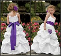 Wholesale Cheap Toddler Girls Skirts - Kids Formal Wear White Gown For Weddding Elegant Tiered Skirts Cheap Spaghettis Sexy Floor Length Custom Flower Girls' Dresses