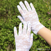 Wholesale White Tulle Gloves - 2016 best selling Wedding Bridal Lace Gloves Accessories Bride Tulle Flowers Hollow Short Ruffles Glove Car Drive Sun Protection Hand Wear