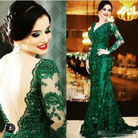 Wholesale White Winter Jackets Bride - 2016 Elegant Emerald Green Lace Evening Dresses V Neck Long Sleeves Open Back Mermaid Court Train Formal Gowns Mother of the Bride Dress