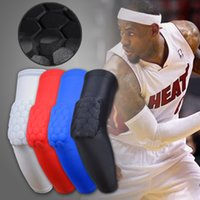 Wholesale Black Basketball Arm Sleeve - Long Honeycomb Anti-collision Basketball Sleeve Elbow Support Compression Sleeve Arm Elbow Pads Sport Elbow Brace Protector Free Shipping